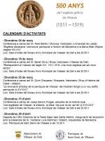Cartell calendari activitats 500 aniversari de l'església gòtica de Sant Genís de Vilassar