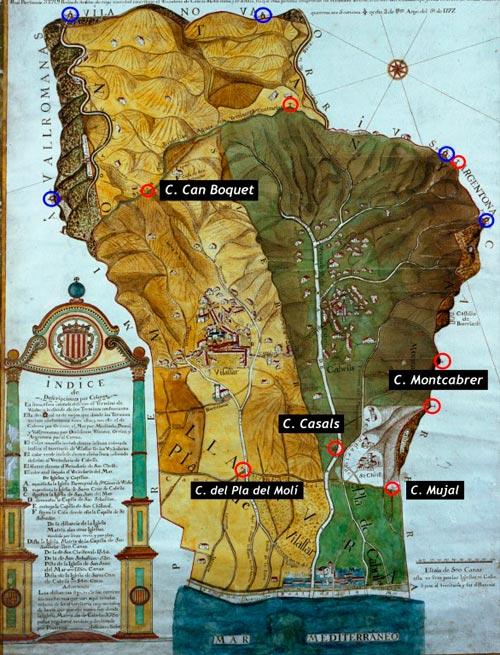 Plànol de 1777 del Terme de Vilassar amb les creus evidenciades en vermell i les fites en blau. Sobta veure que hi ha moltes creus marcant el perímetre a llevant però cap a ponent.